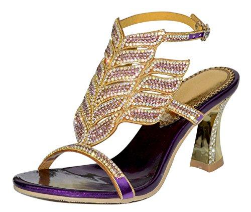Honeystore Damen's Pfau Geformt Pattern Handgemacht Streifen Strass Starke Ferse Sandalen Violett 40 EU