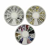 PREFER-BEAUTY PREFER BEAUTY - 3 Cases Different Manicure 3D Nail Art Decorations Wheels, Gold and Silver Metal Studs + Mix Color Crystal Style Glitter