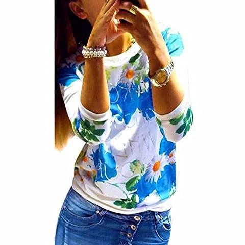Women`s Rose Printed Sweatshirt T-shirt Long Sleeves Blouses Shirts