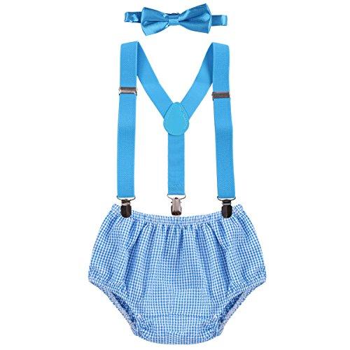 OBEEII Baby 1. / 2. Geburtstag Outfit Neugeborenen Kinder Bloomer Shorts + Fliege + Clip-on Hosenträger 3pcs Bekleidungssets für Foto-Shooting Kostüm für Säugling Jungen Mädchen Unisex 3-24 Monate