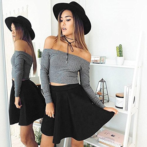 Zolimx Sweater Frauen Sleeveless Tight Pullover Stricken lässig Trägerlos T-Shirt Grau