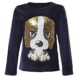 Mädchen Kinder Pullover Pulli Wende-Pailletten Sweatshirt 21549, Farbe:Blau, Größe:110