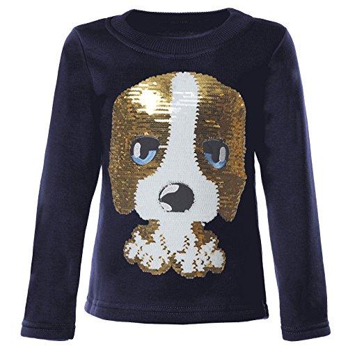 BEZLIT Mädchen Kinder Pullover Pulli Wende Pailletten Sweatshirt 21549, Farbe:Blau, Größe:134 (Kinder Pullover)