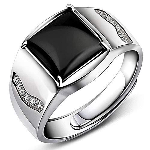 JiangXin Men's ring Luxus Gentleman Öffnung Verstellbar Schwarze Achat Man Herren Ringe Silberring Massivem 925 Sterlingsilber
