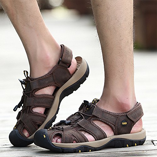VILOCY Herren Sommer Leder Klett Sandalen Athletic Walking Beach Outdoor Schuhe Dunkler Braun