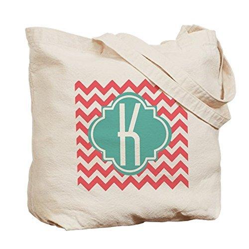 Buchstabe K Chevron Streifen Monogramm Canvas Tote Bag für Frauen niedliche Umweltfreundlich wiederverwendbar natur Handtasche