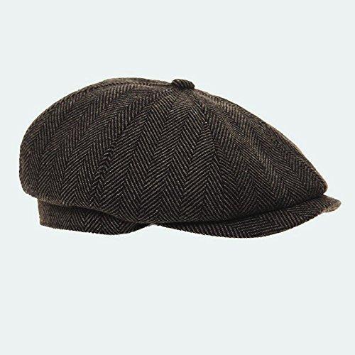 Dark Grey 8 Panel Herringbone Tweed Cap