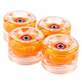 4 Stück (LED) FunTomia® Longboard/Skateboard/Mini-Board Rollen (Big Wheels) in 65x45mm 80A inkl. Mach1® Kugellager und Metall Spacer