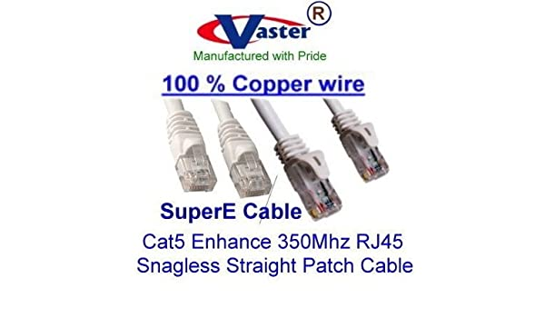 7 Ft UTP Cat5e UL 24Awg Pure Copper Ethernet Network Patch Cable SuperEcable -20678-5 Pcs//Pack White