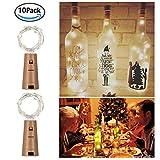 20 LED 2M bottiglia luci con sughero 10 pacco a pile forma di rame filo di rame colorato fata mini luci stringa per fai da te decorazioni per feste Natale Halloween matrimonio (bianco caldo)