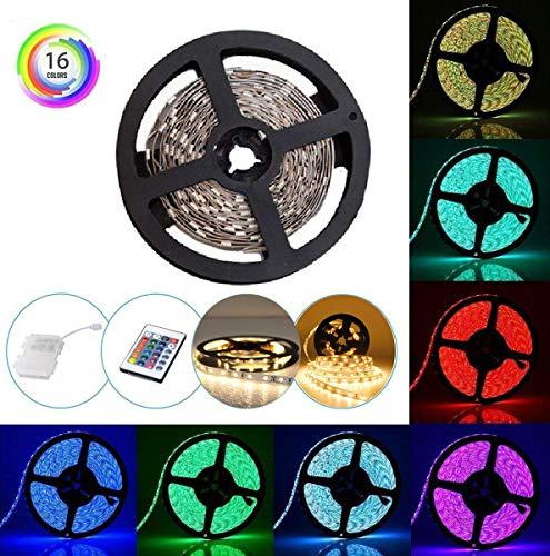 Batteriebetriebene LED-Streifen-Lichter mit Fernbedienung und wasserdichter Batterie-Kasten, 16 Farben 2M / 6.56ft Flexibler wasserdichter LED-Licht-Streifen, Beleuchtung RGB-5050 LED, die Fernsehhintergrundbeleuchtung für Hauptinnenaußendekoration im Freien beleuchtet