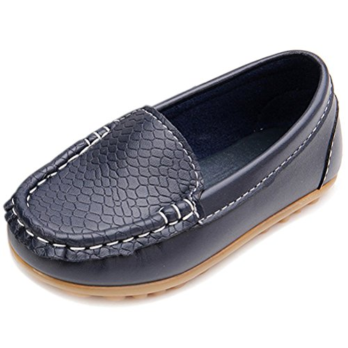 VIFUUR Boys Girls Loafers Shoes Slip-on Leather Boat Dress Shoes for Toddler Little Kids Navy 26
