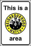 NEIGHBOURHOOD WATCH Bereich Safety Sign Schild aus Aluminium–3mm mit 2Streifen Ausgestattet zu hinten für die Montage auf Post 400mm x 300mm