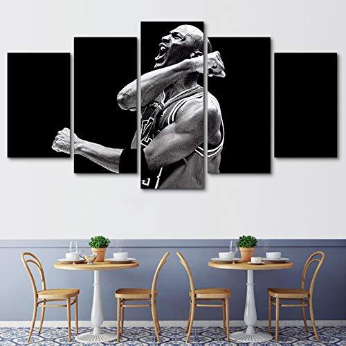 lglays Hängende Leinwandmalerei Moderne 5 Stück Leinwand Malerei Druck Basketball Star Poster Wandkunst Schlafzimmer Wohnkultur Poster mit Rahmen-30x40cm/60cm/80cm -