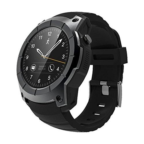 TOOGOO S958 Kompatibel mit Android IOS Phones Smart Watch Sport Wasserdichte Pulsmesser GPS 2G Sim-Karte Kommunikation Mode Smart Watch, Schwarz -