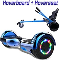 "COLORWAY Hoverboard Hover Scooter Board 6,5"" con Asiento Kart con Ruedas de Flash LED, Patinete Eléctrico Altavoz Bluetooth y LED, Autoequilibrio de Scooter Eléctrico"
