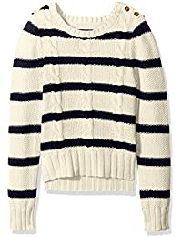 Nautica Girls' Striped Seed Stitch Sweater with Cable Knit Detail
