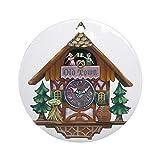 HSSS Kuckucksuhr, lustige Weihnachtsdekoration, rund, Weihnachtsdekoration, Weihnachtsbaum-Dekoration, 7,6 cm