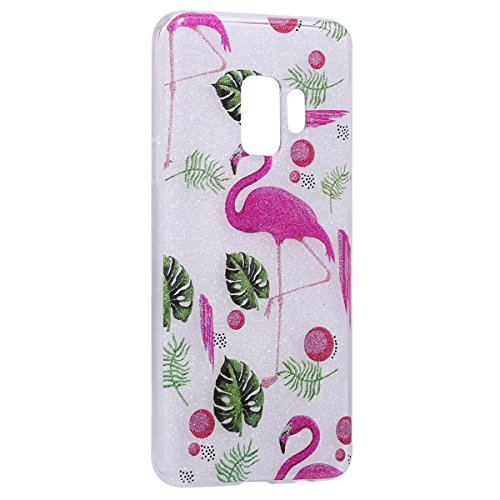 Coque Galaxy S9,Galaxy S9 Coque Paillette Strass Silicone Housse Etui,Surakey Souple Housse Étui Protection TPU Bumper Silicone Gel Ultra Mince Case pour Samsung Galaxy S9 Flamant rose
