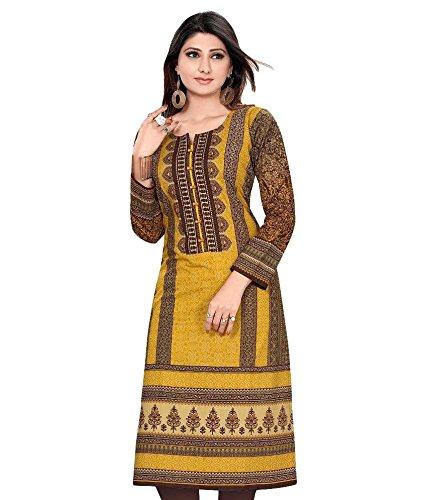 Woman A-Line Long Pakistani Style Kurti, Brown, Large