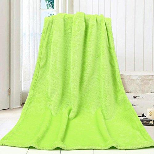erthome Super Weich Warm Solide Warm Micro Plüsch Fleece Kleine Decke Wurf Teppich Sofa Bettwäsche Für Kinder | Haustier (Grün) (König Fleece Tröster)