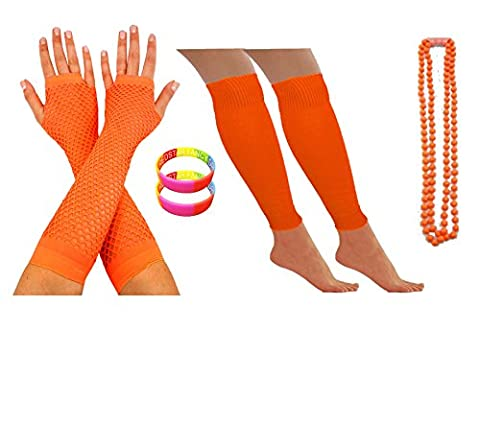 NEON FISHNET GLOVES, LEG WARMERS, NECKLACE BEADS AND NEON WRISTBAND HEN PARTY FANCY DRESS (Orange)
