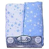 Frenchie Mini Couture Spannbettlaken für Babybett (140x 70cm), Weiß und Blau, sehr weiche gewebter Baumwolle, Fadenzahl 200, 2 Stück
