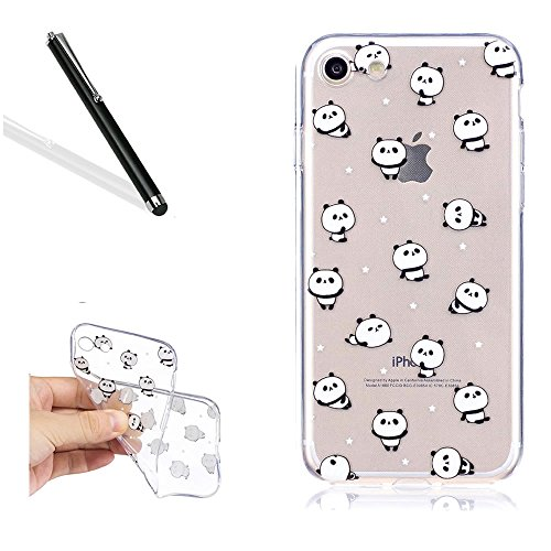 Coquille pour iPhone 5S 5,Souple Silicone Coque pour iPhone SE,Leeook Ultra Mince Créatif 360 Degré Full Body Double Sides 2 in 1 Protecion Transparent Clair Cristal Conception Absorption de Choc Bump Mignonne Panda