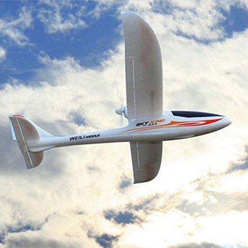 3-Kanal 2.4GHz RC ferngesteuertes Segelflugzeug, optional erweiterbar mit Kamera, Modellbau Glider, Spannweite von 750mm, Flieger-Modell mit EPO-Material, Komplett-Set inkl. Akku und Fernsteuerung -