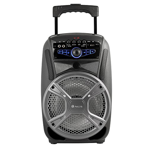 NGS Wild Grunge 35W Negro, Plata - Altavoces portátiles (35 W, Inalámbrico y alámbrico, Bluetooth/USB/3.5 mm, Negro, Plata, LED, MMC,SD)