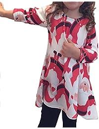 Internet Bébé filles enfants Noël Robes de soirée de Swing rouge Santa Claus Impression manches longues Robes