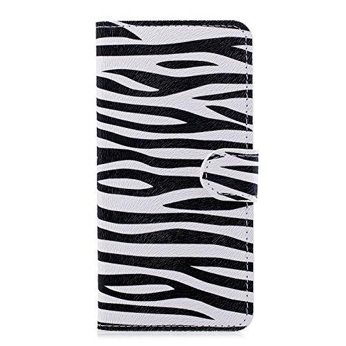 candy house Huawei P20 Lite Hülle, Mode Brieftasche Simple Zebra Design PU Leder Flip Schutzhülle Cover mit Card Slot Kartensteckplatz Ständer Magnetverschluss für Huawei P20 Lite -