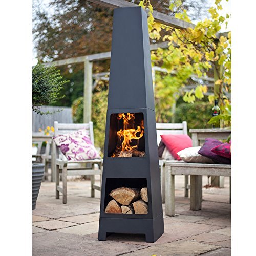 La Hacienda Malmo Chiminea Chimenea Modern Black Steel Patio Heater