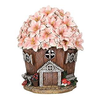 Azuma Garden Ornament Solar Powered Light Resin Decoration Flower House Pink Building Patio Outdoor Novelty LED