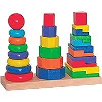 Preisvergleich für alles-meine.de GmbH Steckturm - Holz Bausteine / Steckspiel aus Holz - Stapelturm - Sortierspiel Stapelspiel Bunt