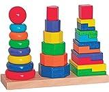 alles-meine.de GmbH Steckturm - Holz Bausteine / Steckspiel aus Holz - Stapelturm - Sortierspiel Stapelspiel Bunt