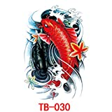 Etiqueta engomada del tatuaje de la espalda completa etiqueta engomada del tatuaje de la espalda completa arte carpa imagen grande personaje Zhao Yun Guan Yu TB-030 34 * 48cm