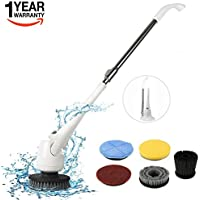 Scrubber,Power Cleaning Brush Electric Turbo Scrub Cordless Spin Scrubber with 5 Interchangeable Brushes and Wet Mops Extension Pole and Rechargeable Battery for Bathroom/Tub/Floor/Kitchen/Tile