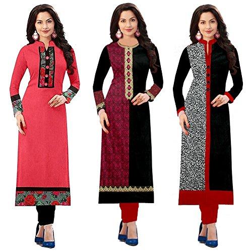 Pramukh Fashion Women's Cotton Semi-Stiched Kurti (Multicolor_Free Size)