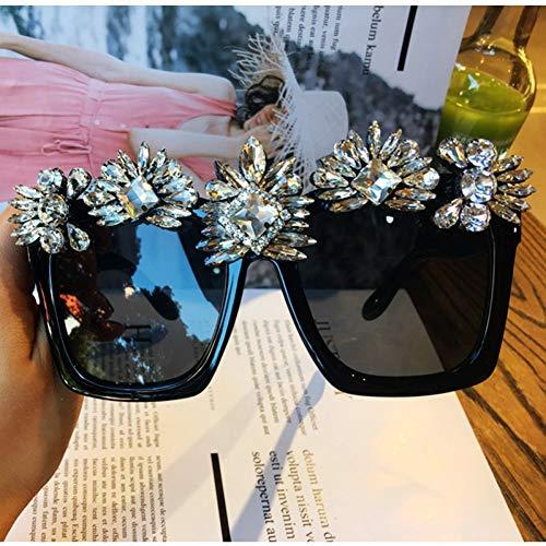 LLISA Kristall Sonnenbrille Frauen Strass Oversize Square Sonnenbrille Marke Brille Vintage Shades Damen,1