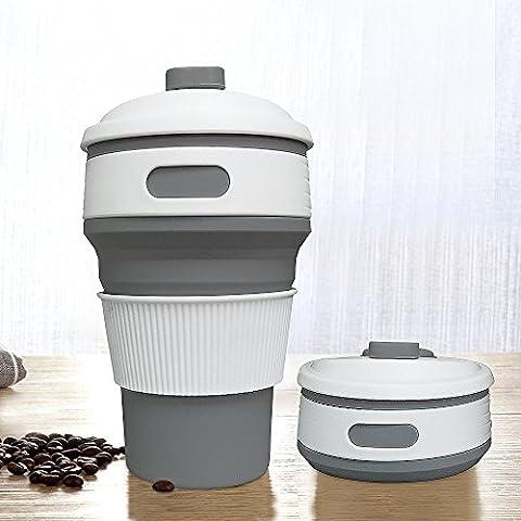 Jonhen Travel Mug 12 oz,Leak Proof,Collapsible Silicone Coffee Cup,Mug Gift