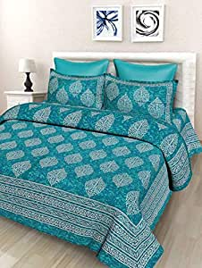 SheetKart Floral 144 TC Cotton Double Bedsheet with 2 Pillow Covers - Sea Green