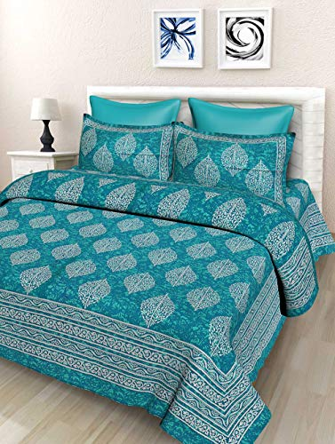 Ahmedabad Cotton 144 TC 100% Cotton Double Bedsheet with 2 Pillow Covers – Yellow and Grey @ Rs-599.00