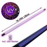 UV Schwarzlicht Röhre für konventionelle Vorschaltgeräte • Blacklight LED Ersatzröhre für Halterungen mit regulärem Ballast • 10W Leistung • inklusive LED Starter • 395nm Wellenlänge • T8 Format • 230V/50Hz (120cm)