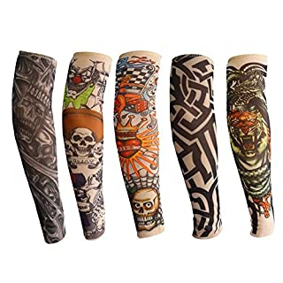 ANGTUO Tattoo Sleeves for kids, 5 PCS Outdoor UV Protection Arm Sleeve Stylish Elastic Nylon Temporary Fake Tattoo for Boys and Girls