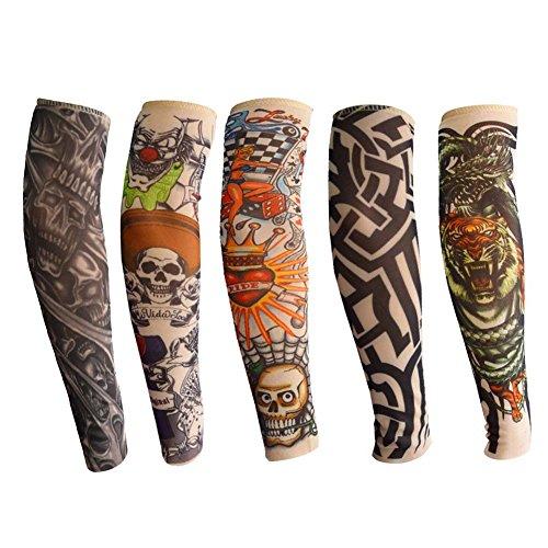Tattoo Armlinge für Kinder, ANGTUO 5 PCS Outdoor UV Schutz Arm Sleeve Stilvolle elastische Nylon temporäre Fake Tattoo für Jungen und Mädchen