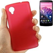 Carcasa ultrafina 0,3mm para teléfono Google Nexus 5, color rojo transparente