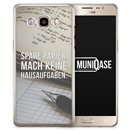 Spare Papier, Mach Keine Hausaufgaben - Hardcase Handy Hülle für Samsung Galaxy J7 (2016) - Case Case Cover Schutzhülle Coole Bedruckte Design Lustige Ausgefallene Geile Witzige Spruch Sprüche Schule