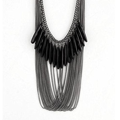 Mjhwsx collana lunga Nero moda generoso gemme collana lungalunga multi-frange , black
