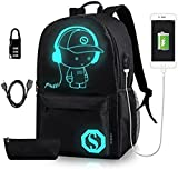 Luminous School Backpack - Horsky Anime Luminous Shoulder Bag lightweight with Laptop Compartments for Students Teens Boy Girl Book Laptop Travel Camping 35 L